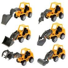6 Pçs/lote Mini Escavadeira Modelo de Carro Veículo Brinquedos Conjuntos de Construção De Plástico Modelo de Veículo de Engenharia Bulldozer Engenheiro para Meninos