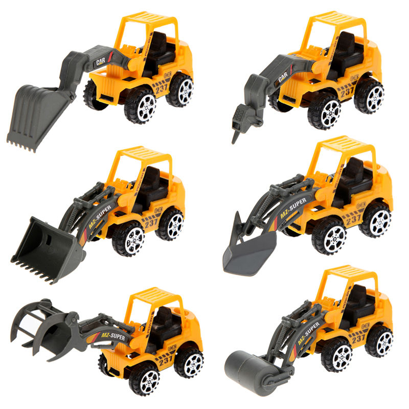 6Pcs/Lot Mini Excavator Model Car Toys Vehicle Sets Plastic Construction Bulldozer Engineering Vehicle Engineer Model For Boys