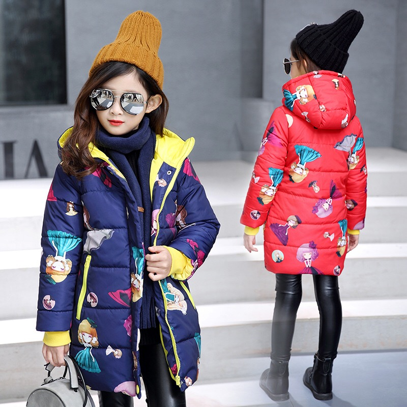 2016 Winter Style Girls Children Printed Hooded Outerwear Snowsuit Christmas Clothing Coats Jackets Warm Clothes Kids Down Parka girls winter coats kids snowsuit clothes warm children winter jackets for girls children clothing down coat parkas outerwear