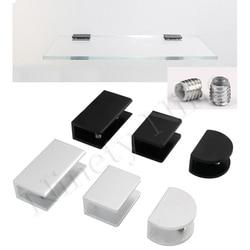 10Pcs/Lot Silver Matte Black Aluminum Wall Glass Shelf Clamp Bracket Holder Clip No-Drill Fixed Panel Glass Clamp