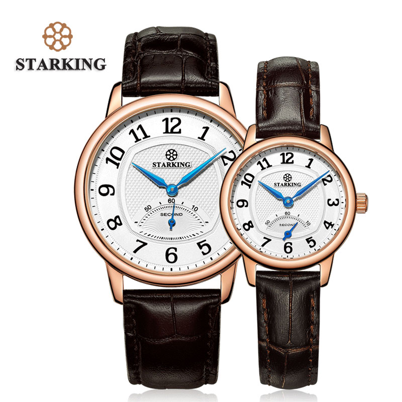 STARKING 40mm Rose Gold Classic Retro Watch Set Genuine Leather Men And Women Couple Watches For Birthday Gifts Quartz Relogios