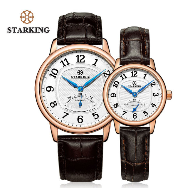 STARKING 40mm Rose Gold Classic Retro Watch Set Genuine Leather Men And Women Co