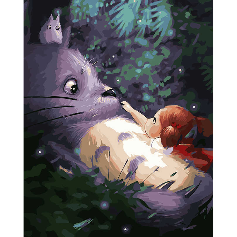 My neighbor totoro pictures by numbers hand painted canvas oil paintings drawing by numbers wall pictures for living room RS-52