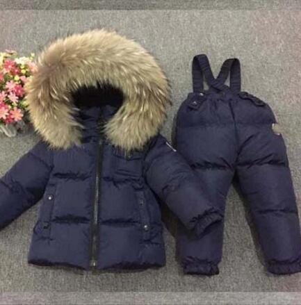 Roupa dos miúdos Meninos Jaquetas de Inverno Marca De Luxo 1-7 Crianças em Idade Two-Piece Set Quente Pele Para Baixo Outerwear pele + Calças de Esqui terno