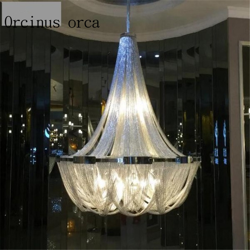 Nordic Luxury Tassels Aluminum Chain Lights Personalized Atmosphere Villa Duplex Building, Living Room Chandelier Postage Free