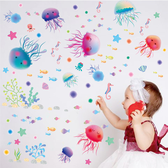 % underwater world Removable wall stickers bathroom toilet kids room wall decor painting waterproof cute jellyfish wallpaper(China)