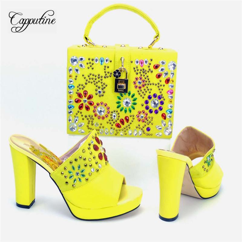 Capputine Latest African PU Leather Shoes And Bag Set Summer High Heels Shoes And Matching Bag Set For Party Size 37-43 itlian style rhinestone slipper shoes and matching bag set new africa high heels shoes and bag set for party size 38 43