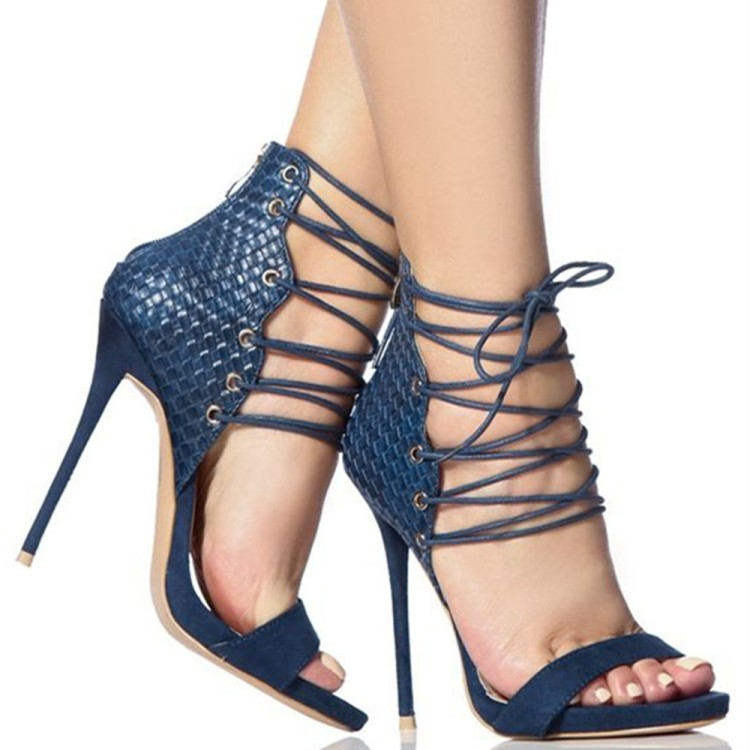 2017 Women High Heel Sandals Fantastic Solid Color Suede Leather Lace Up Braid Fastenting Stiletto Heels Gladiator Dress Shoes
