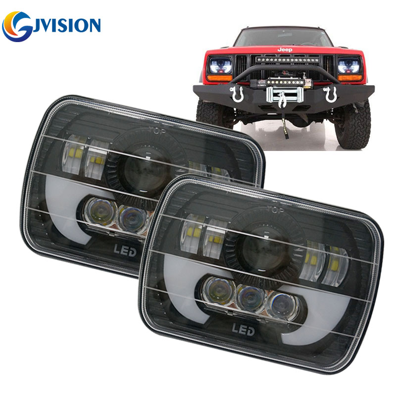 7x6 5x7 inch Rectangular LED Headlights Square Headlamp High/ Low Beam Projector Lens for Chevy Truck Off-road Jeep Cherokee XJ 2pcs 4x6 inch square head light work light high low beam for chevy camaro for ford mustang forklift truck off road