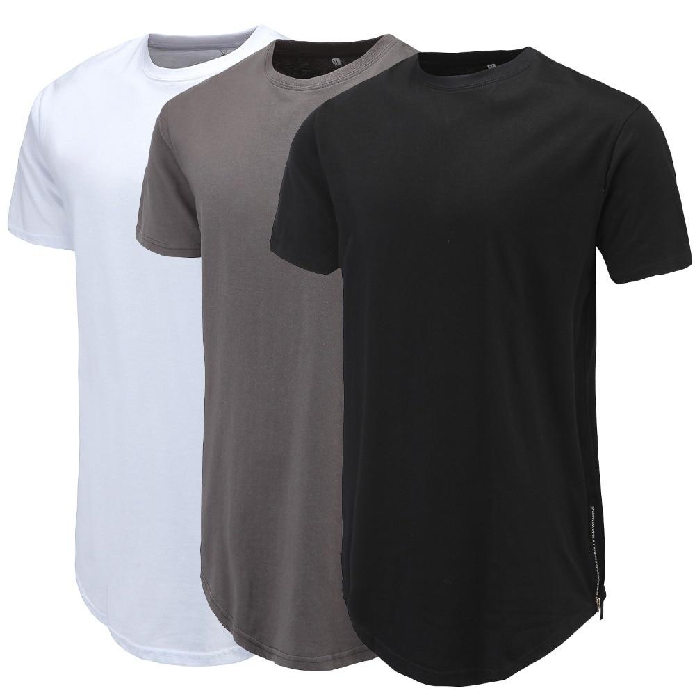 Мужская Повседневная футболка с закругленным подолом, с молнией сбоку, с коротким рукавом, уличная одежда, мужские длинные топы в стиле хип-...