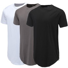 Men Casual T-Shirt Curve Hem Side With Zipper Short Sleeve S