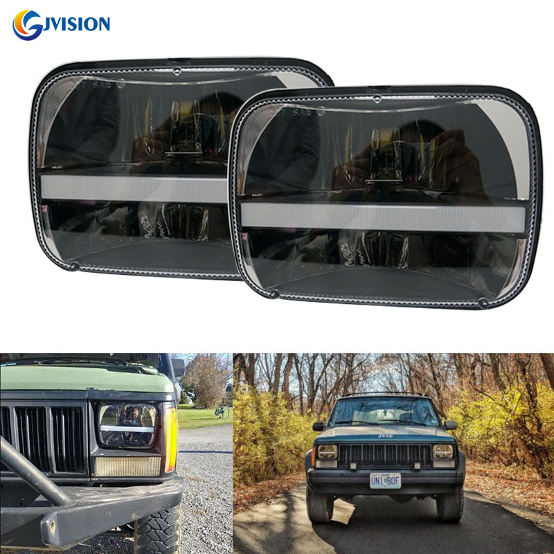 6X7Inch square led headlight white Daytime running lights Yellow turn signal for Jeep Cherokee XJ lamps 5x7'' led truck headlamp universal black 3 76mm polished aluminum fmic intercooler piping kit diy pipe length 450mm for jeep cherokee xj ep lgtj76 450
