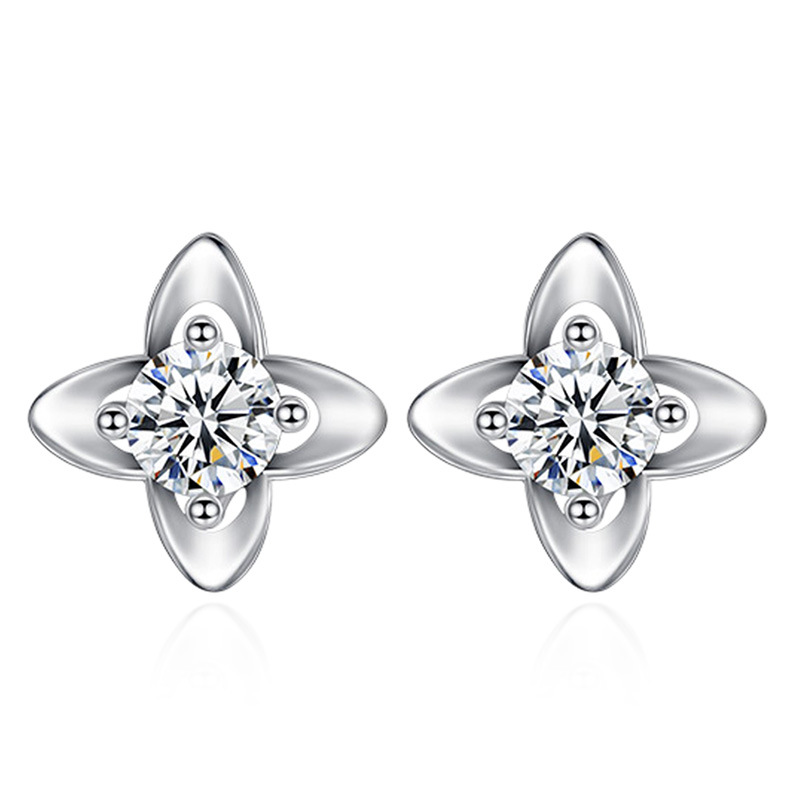 925 Sterling Silver Lucky Leaf Grass Stud Earrings For Women Casual Style Girl Earings P ...
