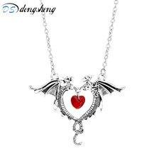 Dongsheng Vintage Juego de tronos collares de dragón doble vampiro Diaries Punk Rosa flor diablo colgantes de corazón para mujer Niña-3