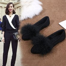 ostrich feather decorate shallow mouth shoes single shoes woman flat  moccasins fashion brand loafers female cozy 05a6dea0b8fb