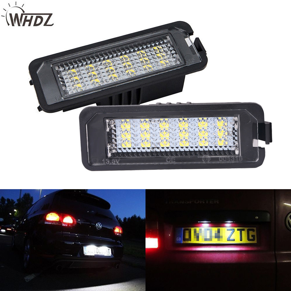 WHDZ 2x18SMD Error Free LED License Number Plate Light Lamps ForGolf MK4 MK5 MK6 Passat Polo CC Eos SciroccoLicense Number Plate