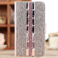 3D Luxury Bling Rhinestone Diamond PU for samsung galaxy S6 S6 Edge Note 4 Note2 Note 3 S4 S5 S3 wallet flip Leather phone cases