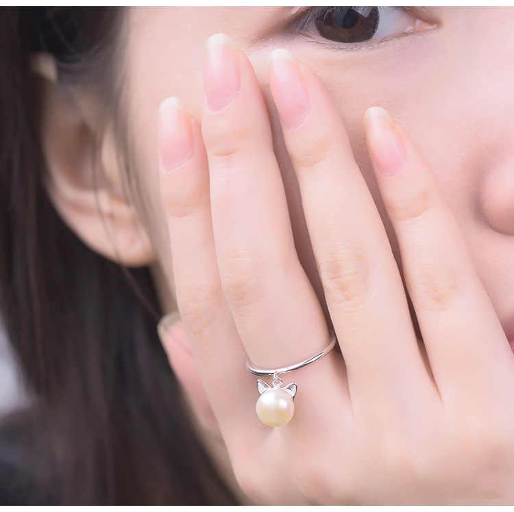 925 เงินสเตอร์ลิงเทียมมุกแมวแหวนผู้หญิงแหวนแฟชั่นแหวนเงินสเตอร์ลิง - เครื่องประดับ