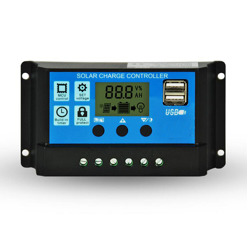 12V/24V 10A 20A <font><b>30A</b></font> <font><b>PWM</b></font> <font><b>Solar</b></font> <font><b>Charge</b></font> <font><b>Controller</b></font> with LCD Dual USB 5V Output <font><b>Solar</b></font> Cell Panel Charger Regulator PV image