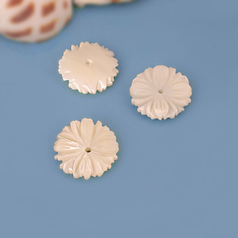 (26095-g)6pcs 12mm Natural Seawater Shell Hand Carved Flower Beads Caps Diy Jewelry Findings Necklaces Earrings Accessories