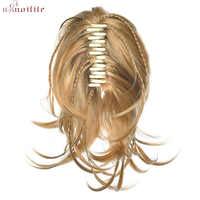 """S-noilite 12 """"Klaue Pferdeschwanz Clip in Haar Extensions Flechten Haarteil Synthetische Haar Lockiges Geflochtene Little Pony Tai für Frauen"""