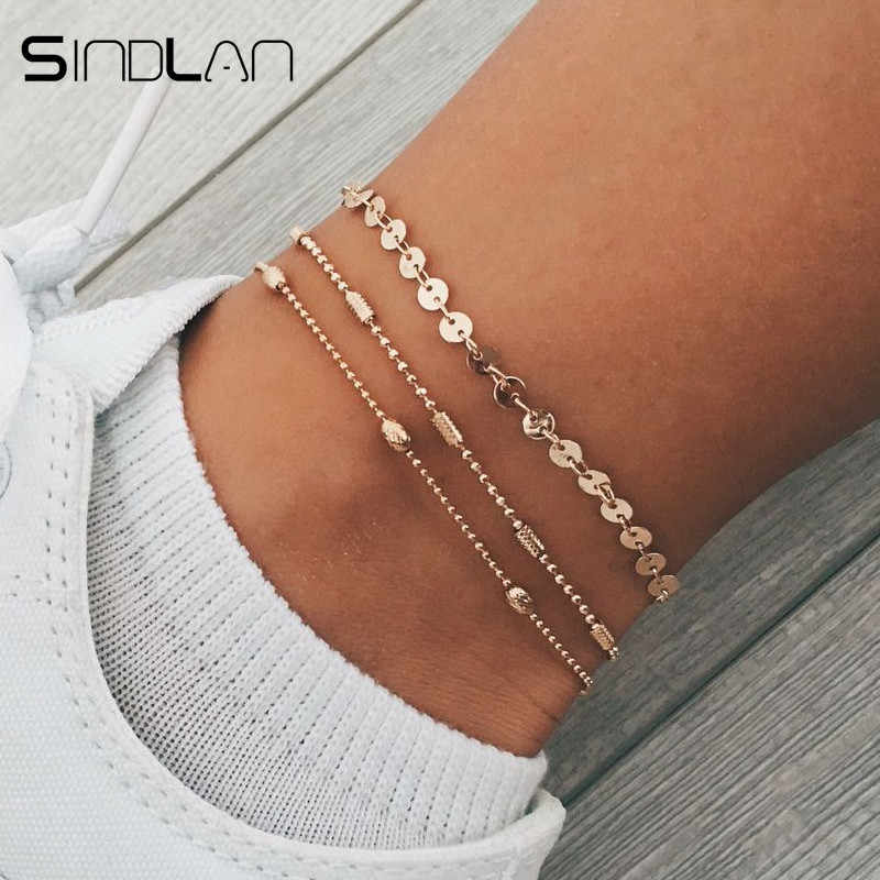 Sindlan 3PCs Shining Beads Anklets Foot Bracelets Set Gold Summer Ankle Chain Anklets for Women Leg Sandal Barefoot Jewelry