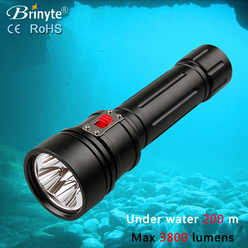 Diving Light 3800 LM CREE L2 LED Dive Flashlight Lamp Torch Underwater 200m Waterproof tactical Diver Torch DIV15 Handheld