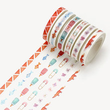 1X 8cm*8m Little fox goldfish  washi tape sticker kawaii scrapbooking planner masking tape office adhesive tape DIY seal tape