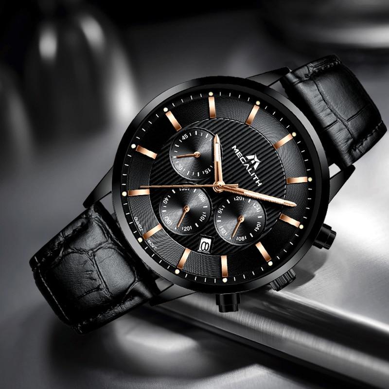 Image 5 - Megalith 腕時計メンズカジュアル防水クロノグラフアナログ腕時計本革クォーツ日付手首腕時計男 colck 8001クォーツ時計   -