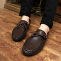 2017 New Fashion Men Flats Shoes Breathable Lace-on Pu Leather Loafers Vintage Business Style  Male Shoes High Qualitu Zapatos
