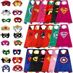 Детский плащ 1 накидка + маска плащ супергероя костюмы Бэтмен человек паук Супермен для женщин косплэй костюм интимные вечерние карнавал