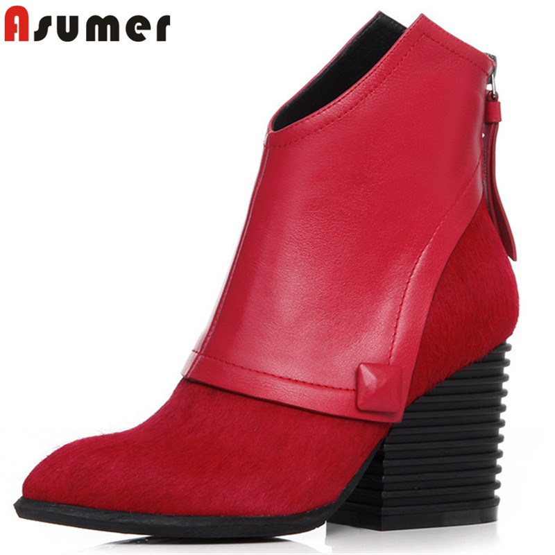 цена на ASUMER big size 33-41 fashion ankle boots for women pointed toe horsehair+cow leather boots high heels shoes autumn winter boots