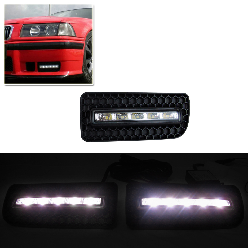 Waterproof Dimmable Led Daytime Running Lights For Bmw E36 M3 91-98 Driving Front Bumper Daylights DRL Fog Lamp Xenon White 7000k xenon white 16w high power led daytime running lights kit for bmw 2010 2013 f10 528i 535i 550i m tech bumper only