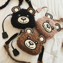 Brand Design Bear Pattern Women Messenger Bag Winter Girls Wool Handbag Small Mini Crossbody Bag Children Cartoon Coin Purse Bag cute women s crossbody bag with tassels and smile pattern design