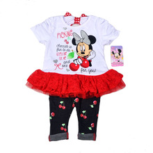 Original Brand 6pcs/lot,2-4 Baby Girl's Minnie Mouse Dress and Legging Set,minnie mouse dress and pants two pieces sets
