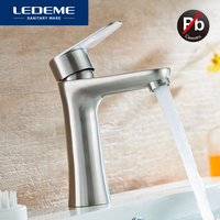 LEDEME Basin Faucet Modern Style Bathroom Stainless Steel Deck Mounted bath Cold and Hot Water tap Mixer Handle L71002 L71001
