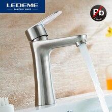 LEDEME 분지의 수도꼭지 현대적인 스타일의 욕실 스테인레스 스틸 데크 장착 목욕 냉온수 탭 믹서 핸들 L71002 L71001