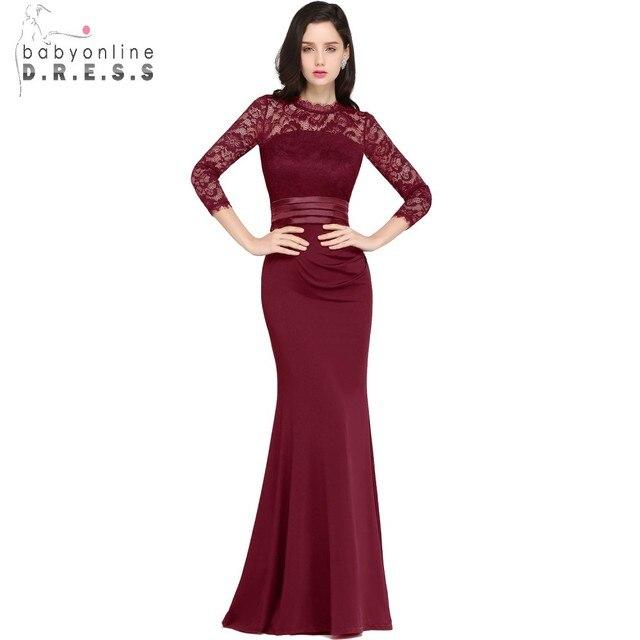 Robe de Soiree дешевые кружевные платья в стиле Русалка длинное вечернее платье 2017 реальное изображение платья с 3\4 рукавами вечернее платье Vestido De Festa Longo