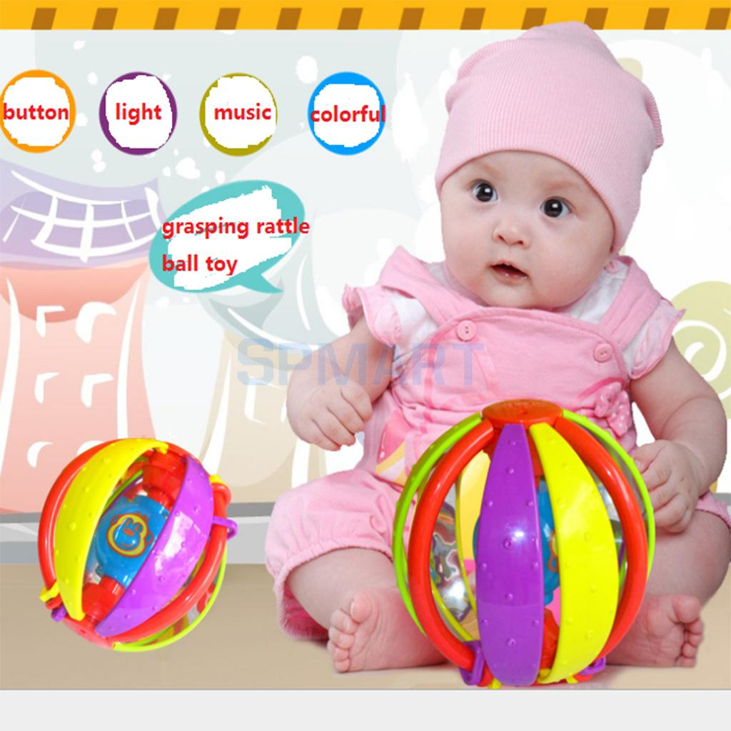 Colorful Musical Flashing Grasping Vinyl Soft Ball Toy Kids Baby Handball Rattles Early Educational Handball Rattles