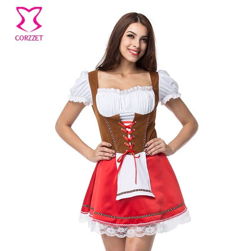 Plus la Taille Allemand Maid Robe Cosplay Bière Fille Costume Oktoberfest Carnaval Fantaisie Tenues Sexy Halloween Costumes Pour Les Femmes