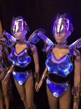 Led Luminous Costume LED DJ Nightclub Party Catwalk Show Party costume Transparent LED light armor Stage Show