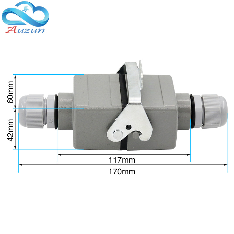 6 core Rectangular heavy duty connector butt type He 06 waterproof socket connector for aerospace industry 16A|Connectors| |  - title=
