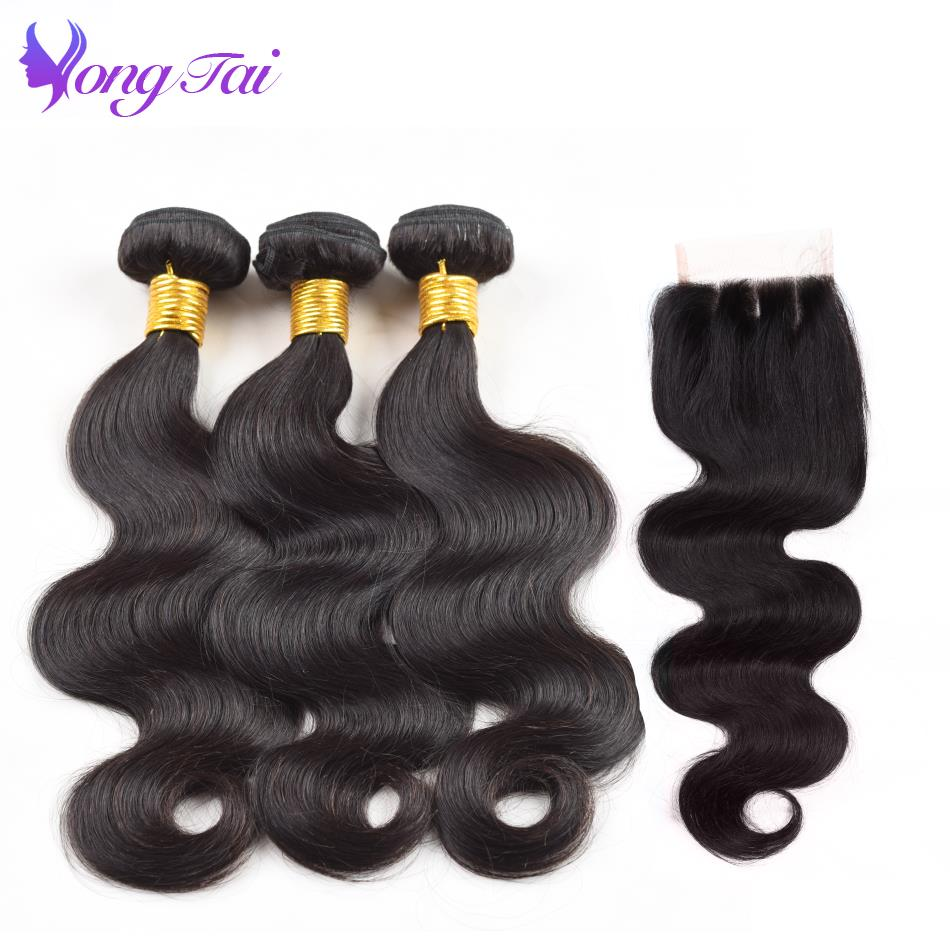 Yuyongtai Remy Brazilian Hair Weave Bundles With Closure Body Wave Bundles With Closure 3 Bundles 4*4 Lace Closure Free Shipping
