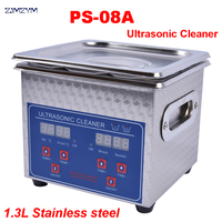 1PC 110V/220V PS 08A 60W Small Heater&timer Digital Ultrasonic Cleaner 1.3L For Glasses,Razor, Jewellery Free Basket