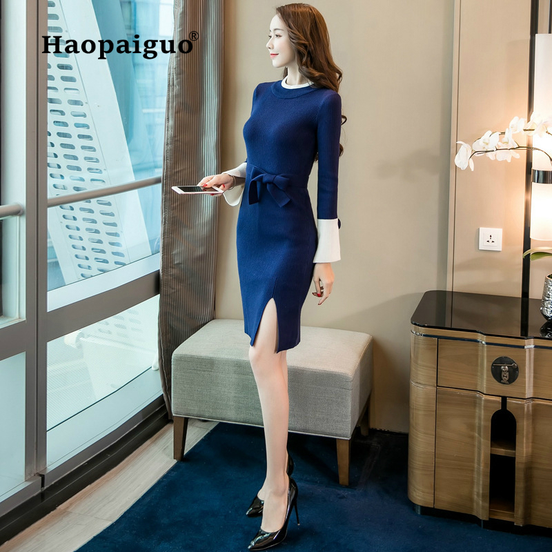 High Elastic Solid Knitting Dress Women O neck Long Sleeve Plaid Office Work Dress Women Elegant Casual Ladies Dress Plus Size in Dresses from Women 39 s Clothing