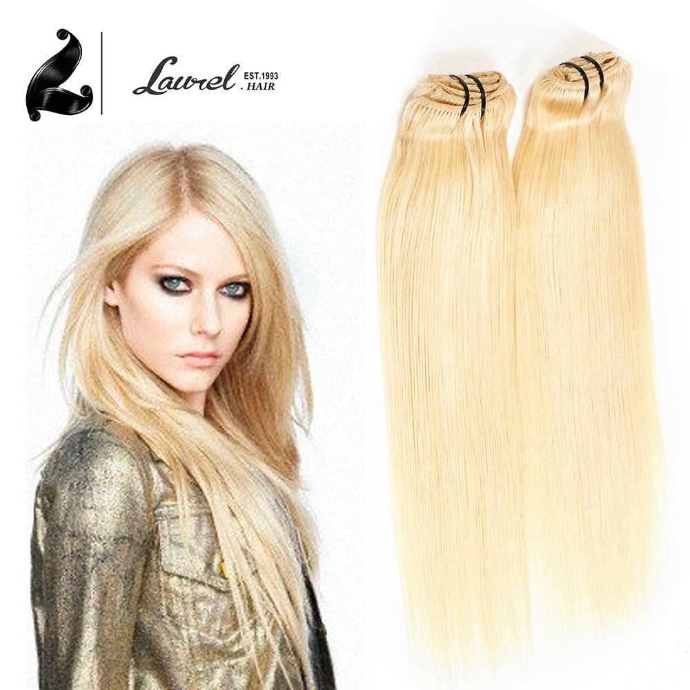 Clip In Human Hair Extensions #613 Blonde Color 80G Virgin Straight Brazilian Hair Virgin Clip In 18 Inch Human Hair Extensions