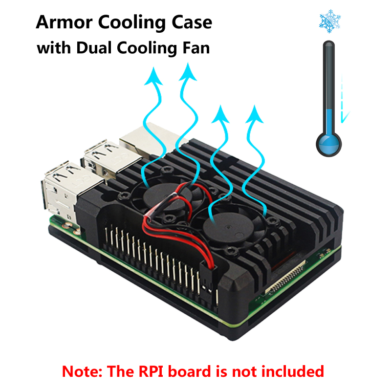 Raspberry Pi 3 Aluminum Metal Case Armor Alloy CNC Box with Dual Fan Heat Sink suitable for Raspberry Pi 3 Model B 3B PlusRaspberry Pi 3 Aluminum Metal Case Armor Alloy CNC Box with Dual Fan Heat Sink suitable for Raspberry Pi 3 Model B 3B Plus