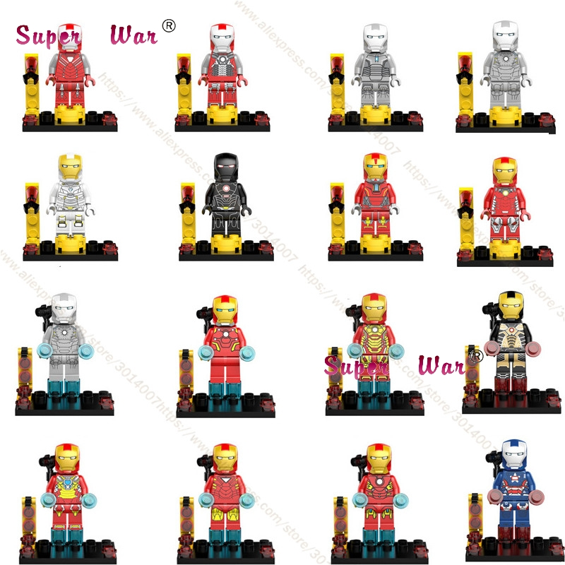 50pcs Marvel Avengers Iron Man Armor Collectable Figure Tony Stark Legion War Machine Patriot Building Blocks Bricks Toy For Boy Blocks