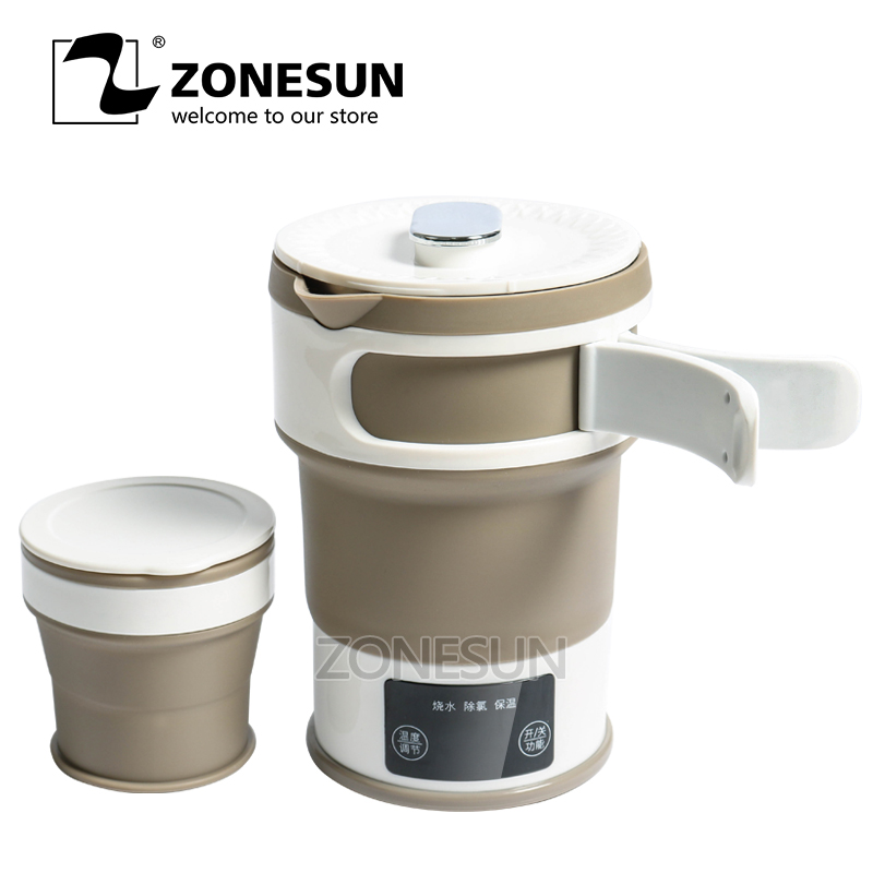 ZONESUN 0.6L Folding  Electrical Water Kettle Auto Power-Off Protection Travel Mini Portable Heating Water Boiler Tea CoffeeZONESUN 0.6L Folding  Electrical Water Kettle Auto Power-Off Protection Travel Mini Portable Heating Water Boiler Tea Coffee