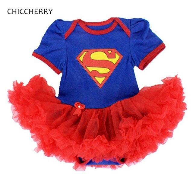 eb95053759228 Bleu Superman Bébé Costumes Dentelle Petti Barboteuse Robe 1st  D anniversaire Tenues Bebe Salopette Nouveau